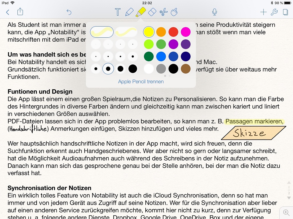 Notability Notizen App Screenshot