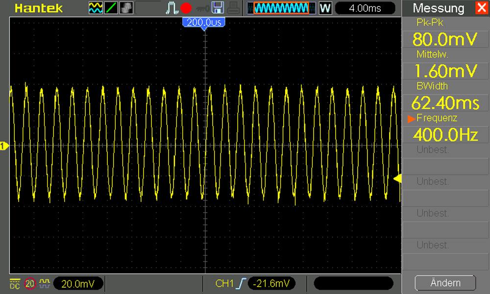Oszilloskop 400 Hz Kopfhörerausgang Smartphone