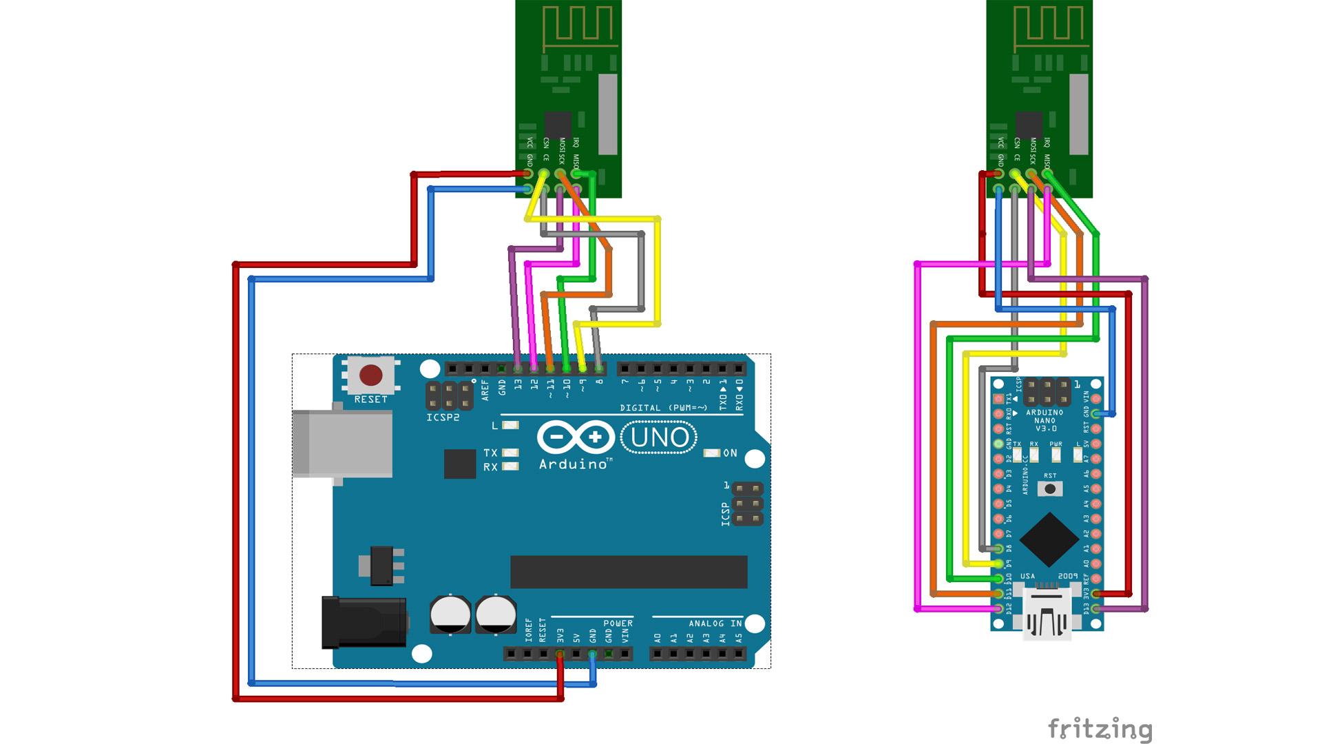 Arduino NRF20L01 Schaltplan nRF24L01+PA+LNA