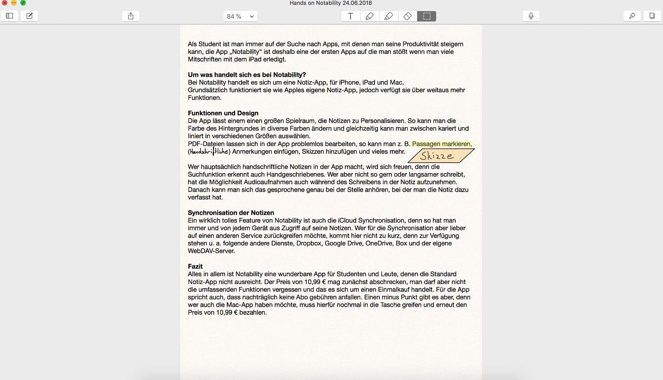 Notability macOS app