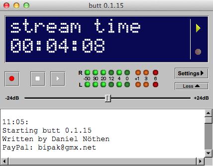 Eigenes Icecast Webradio - butt Mac OS