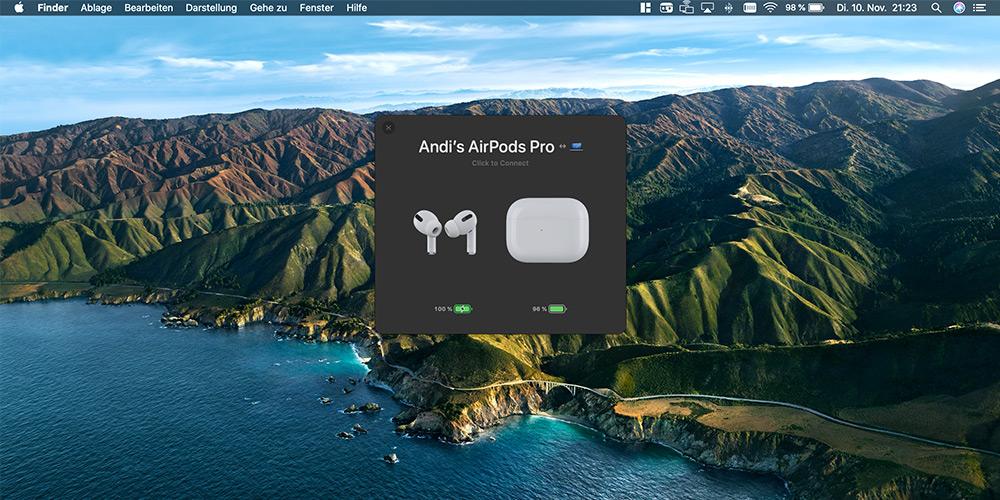 Airbuddy 2 Statusanzeige