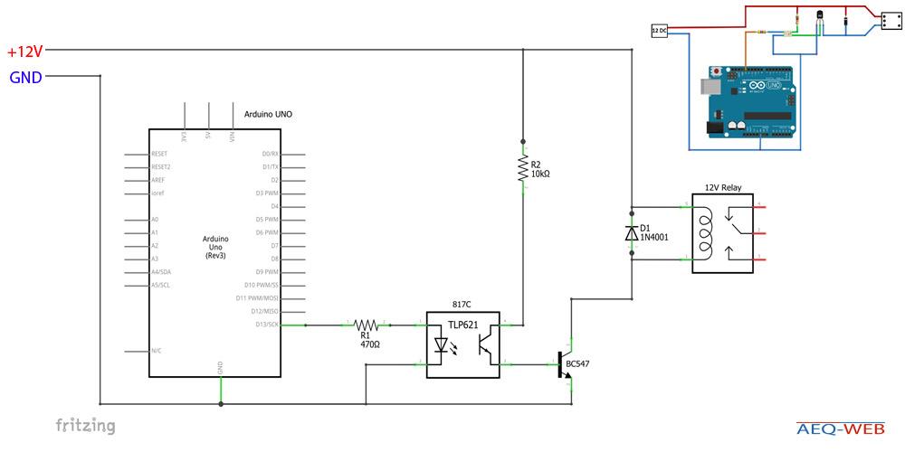 Arduino 12V Relay BC547 Optocoupler