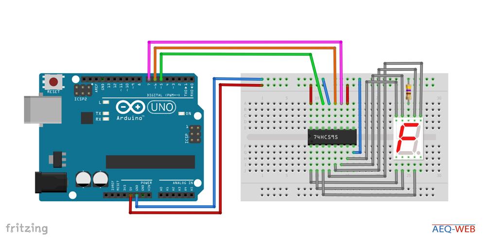 Arduino 74HC595 Wiring