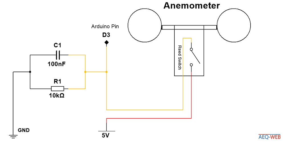 Arduino Reed Contact Anemometer Wind Sensor Wiring
