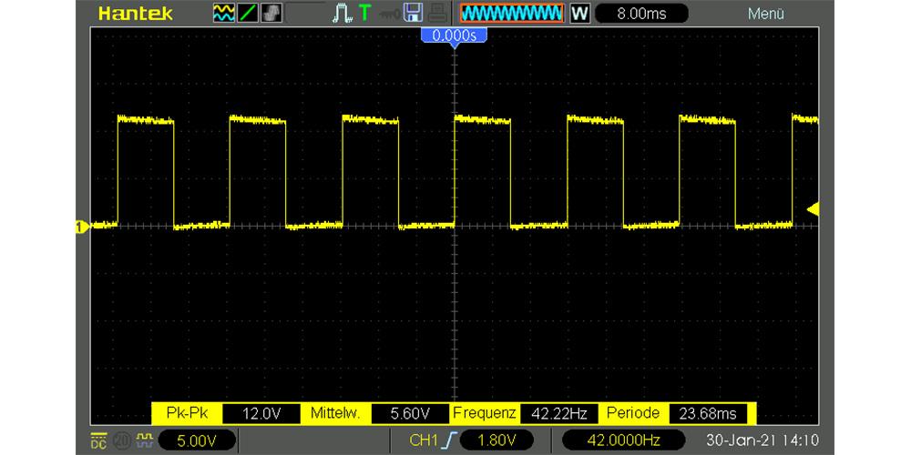 Arduino Lüfter Drehzahl Signal von Tacho Oszilloskop