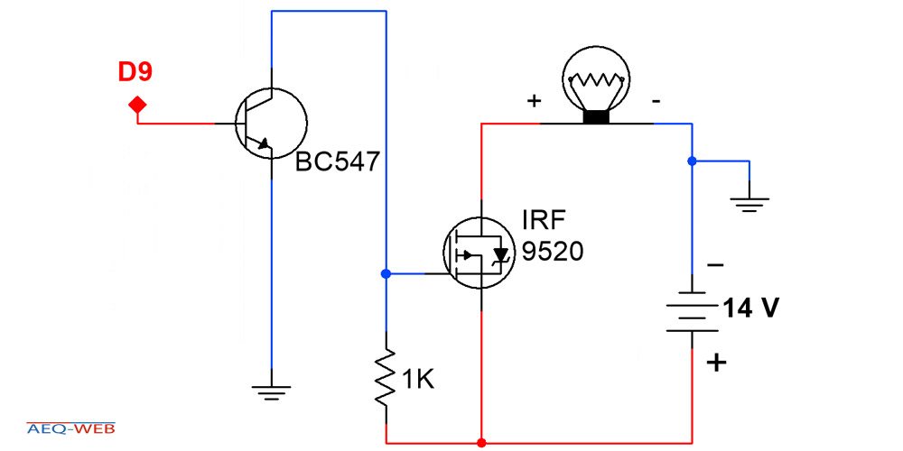 Arduino P-Kanal MOSFET Minimal Schaltung