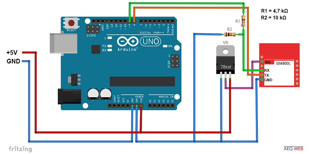 Arduino SIM800 Wiring and Voltage Regulation