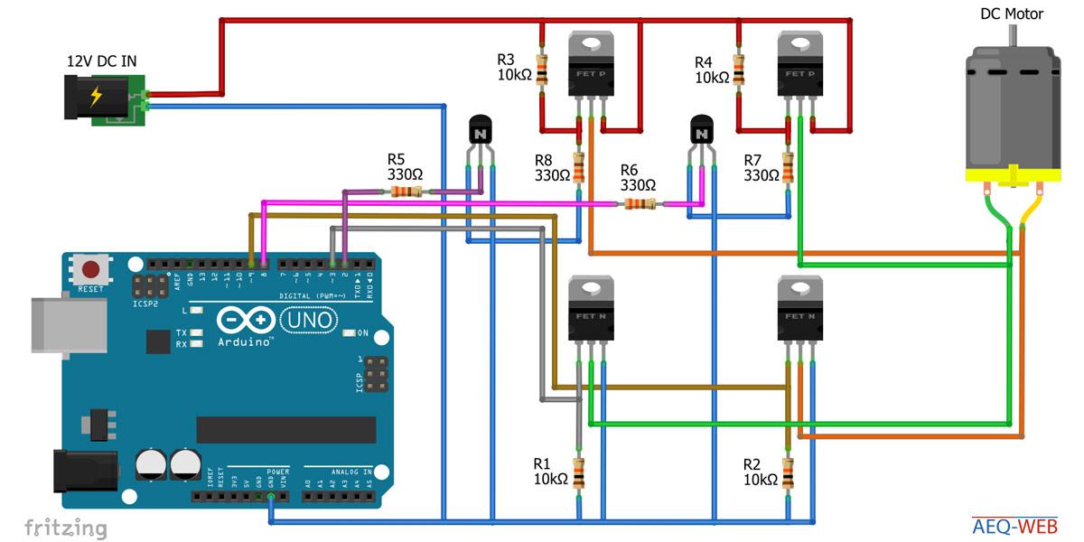Arduino H-Brücke MOSFET Schaltplan Motor