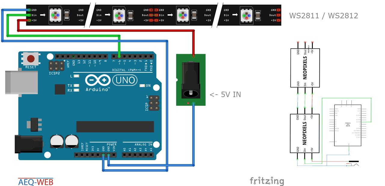 WS2811 WS2812 Arduino RGB LED Wiring Plan