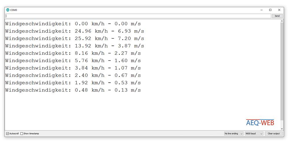 Arduino Anemometer Serial Monitor