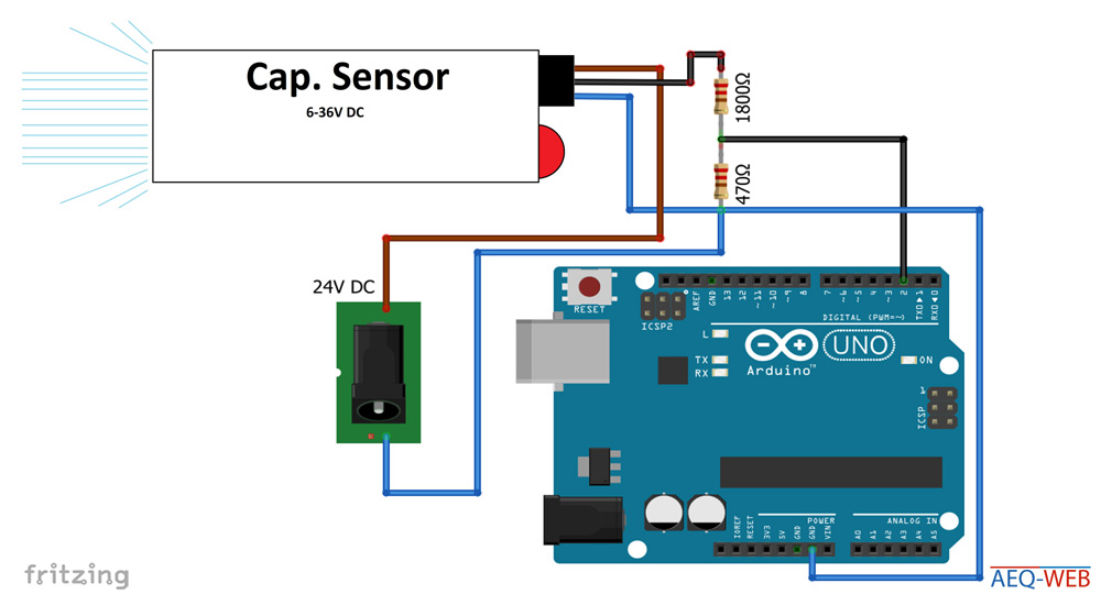 Arduino Capacitive Sensor with 24 voltage divider
