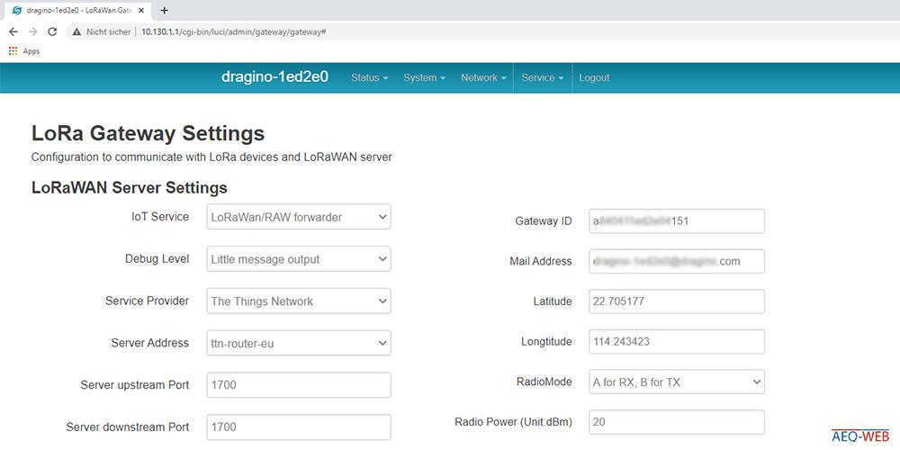 Dragino LG02 LoRa Gateway TTN Server Settings
