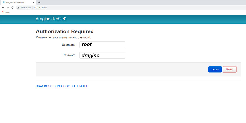 Dragino LG02 Webinterface Login Password
