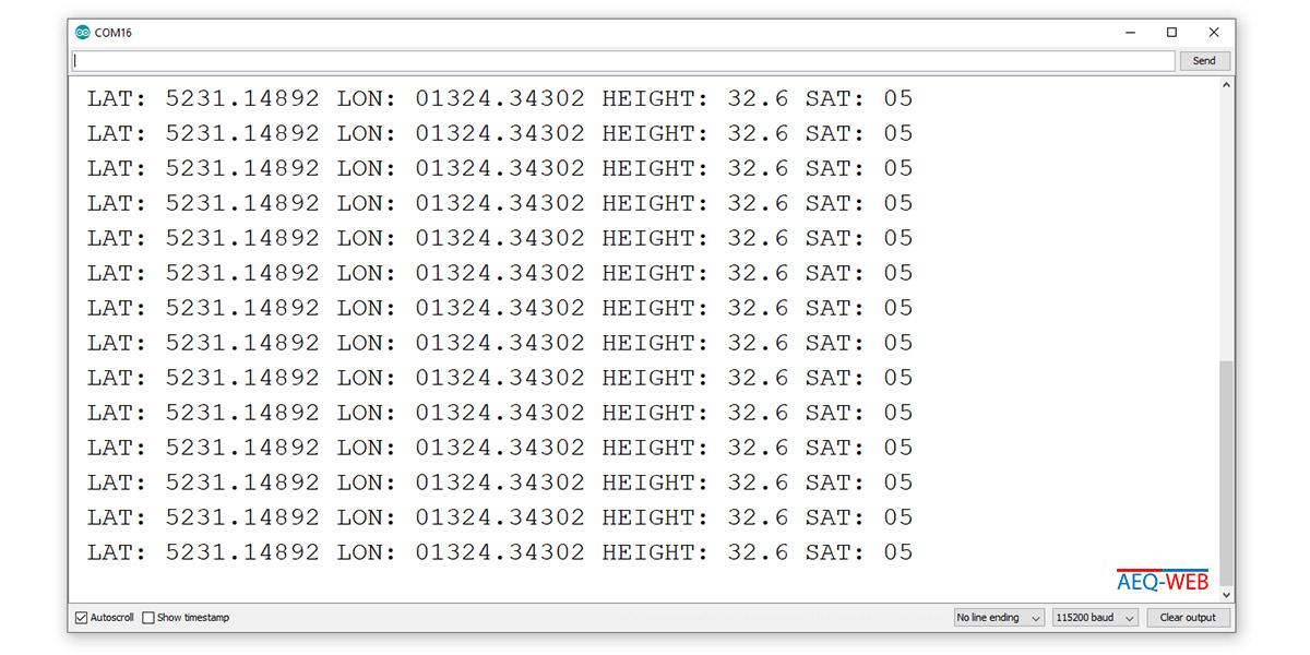 ESP32 TTGO NEO6M GPS Decoded LAT LON Coordinates