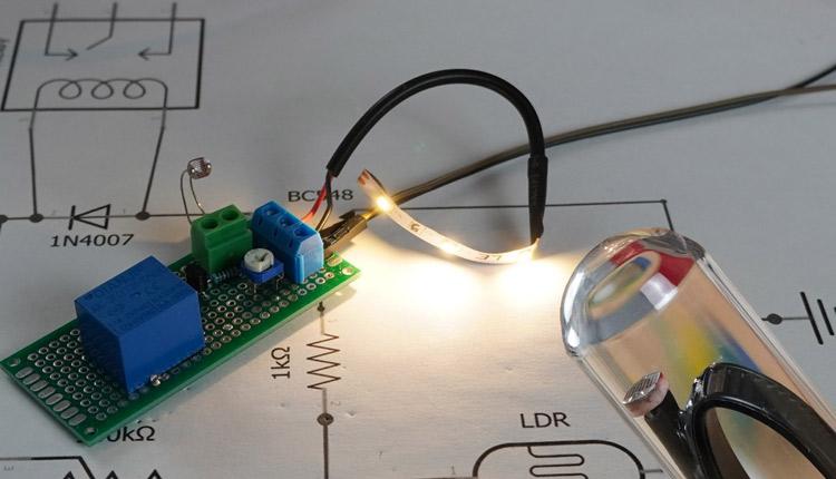12V DC Dämmerungsschalter mit Relais und LDR bauen