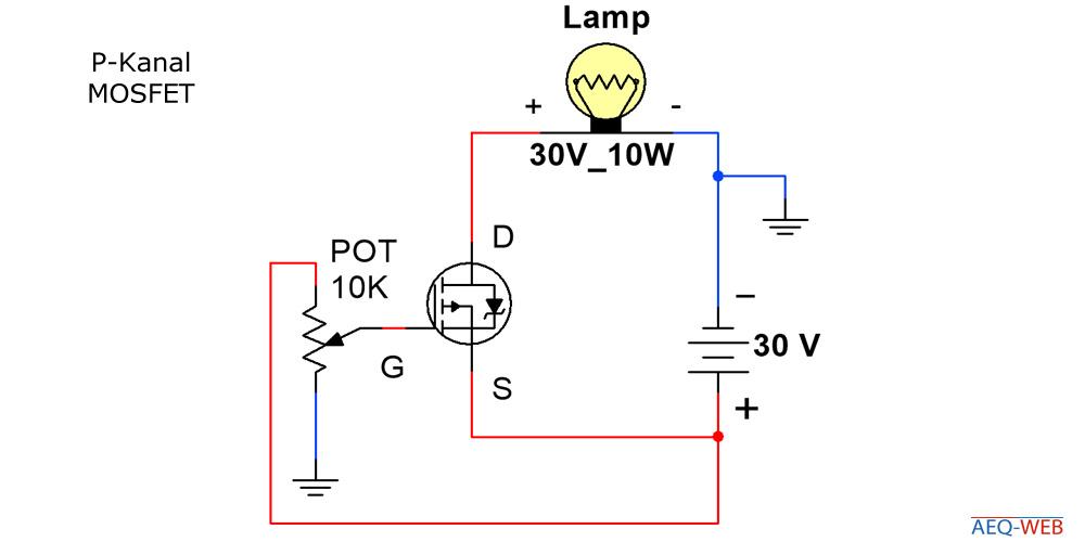P-Kanal MOSFET Lampe helligkeit regeln