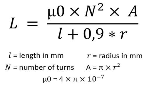 Formel zur Berechnung der Induktivität von kurzen Luftspulen