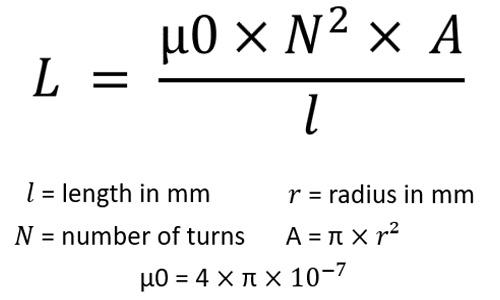 Formel zur Berechnung der Induktivität von langen Luftspulen