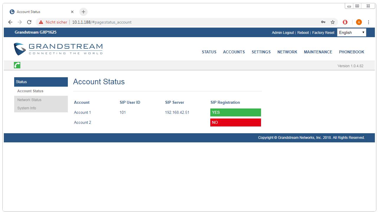 Grandstream GXP1625 GXP1620 Webinterface Configuration