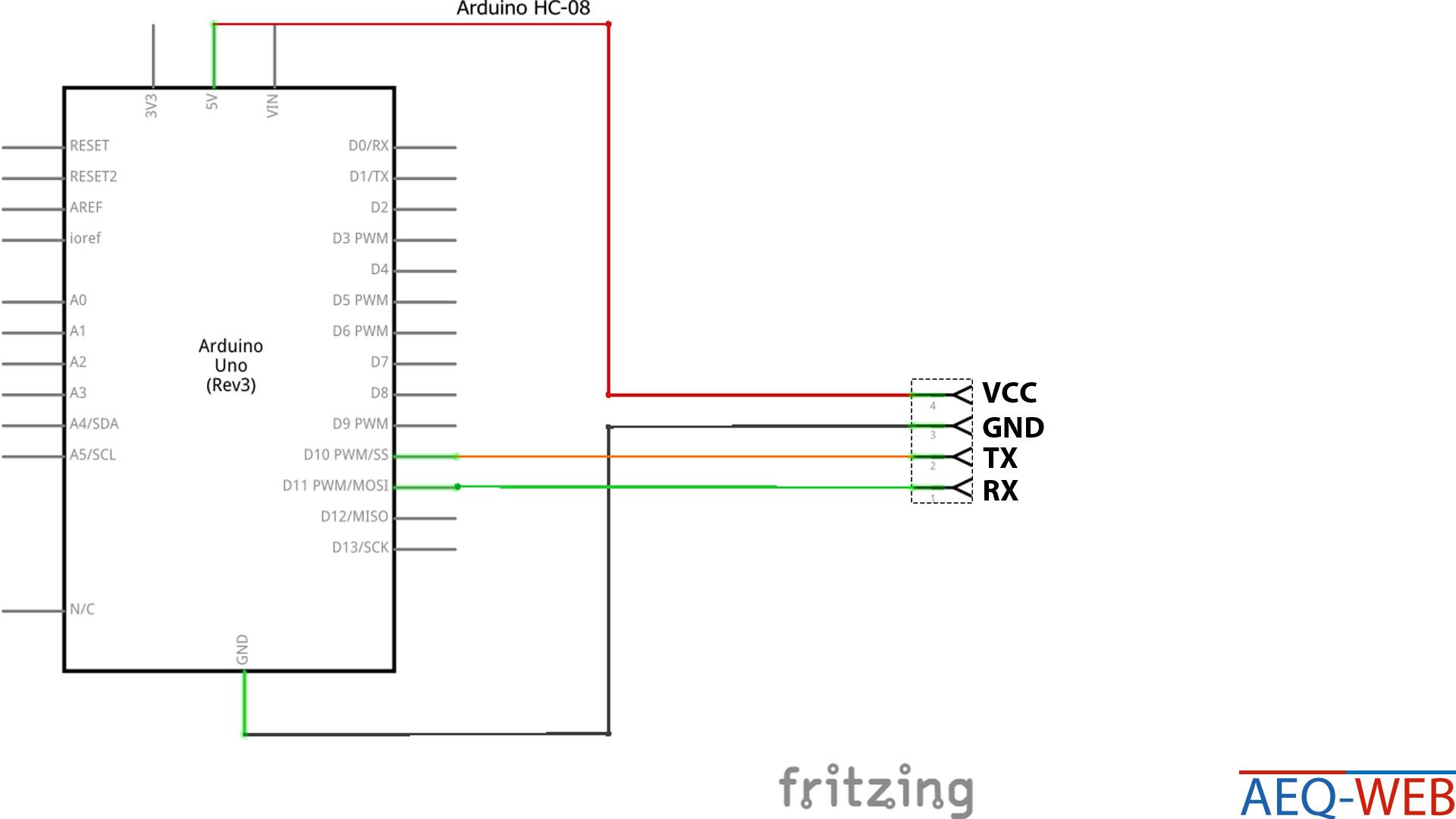 Arduino HC-08 Bluetooth Modul Schaltplan und Verdrahtung