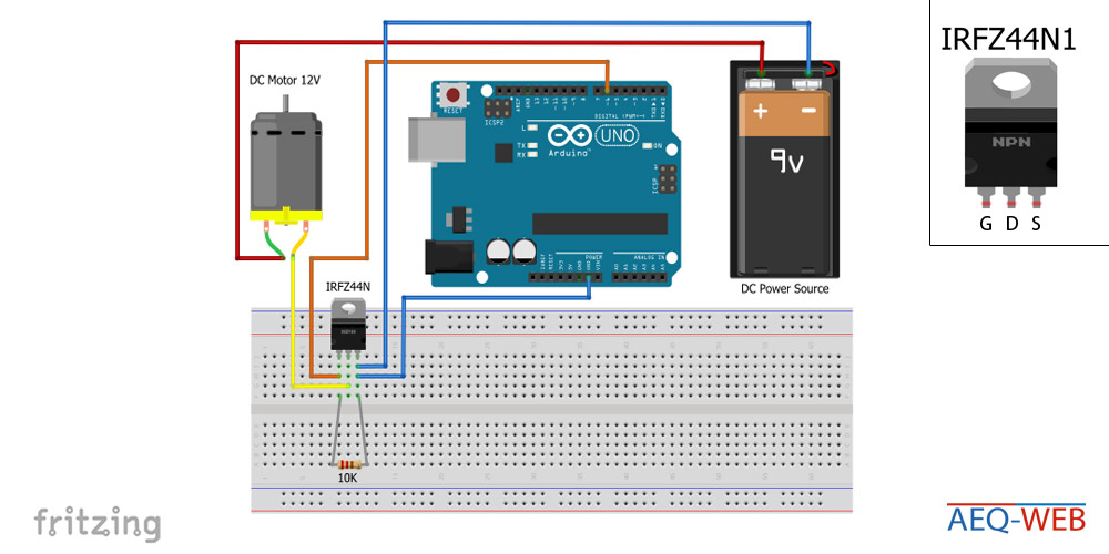 Arduino IRFZ44N PWM MOSFET Motor Control