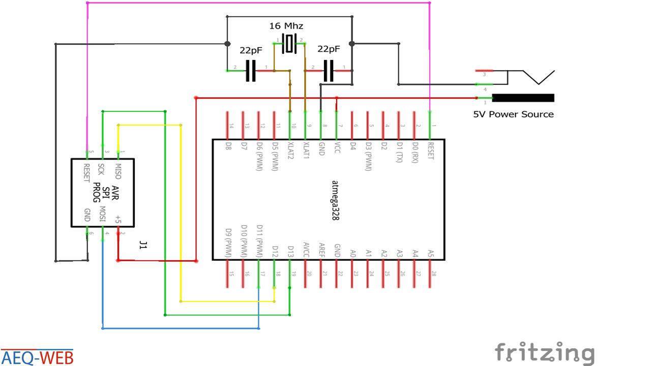 Schaltplan Wiring ATMega328 AVRISP Wiring without Arduino