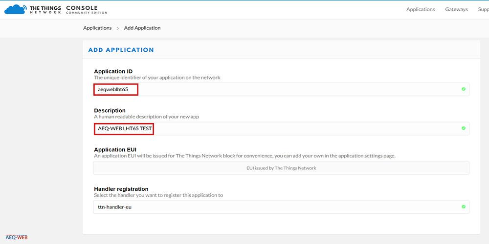 LHT65 TTN Add new Application