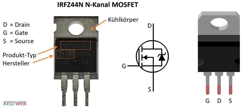 MOSFET Anschlüsse und Details IRFZ44N IR