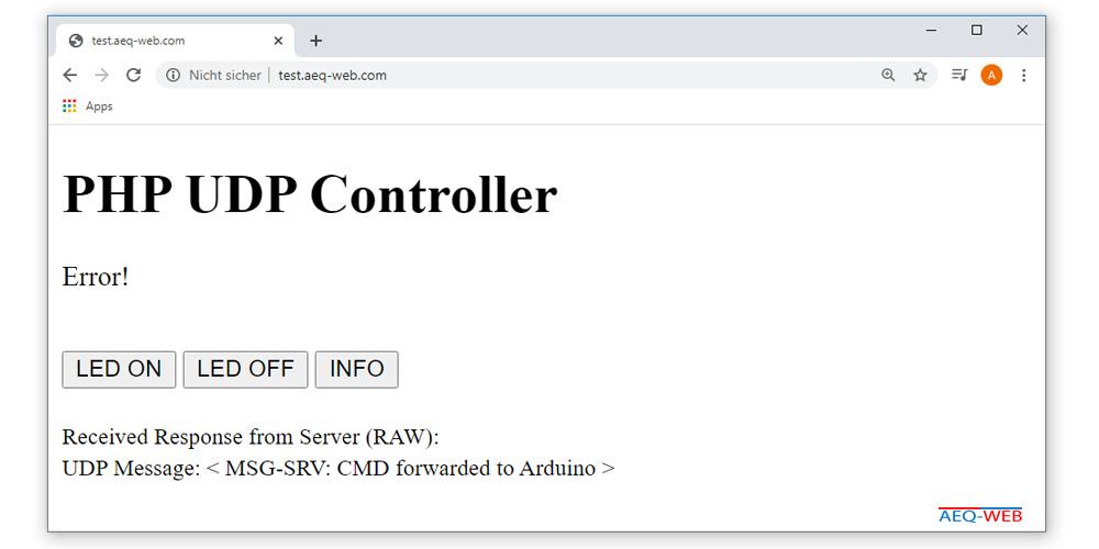 Arduino PHP switch LED error