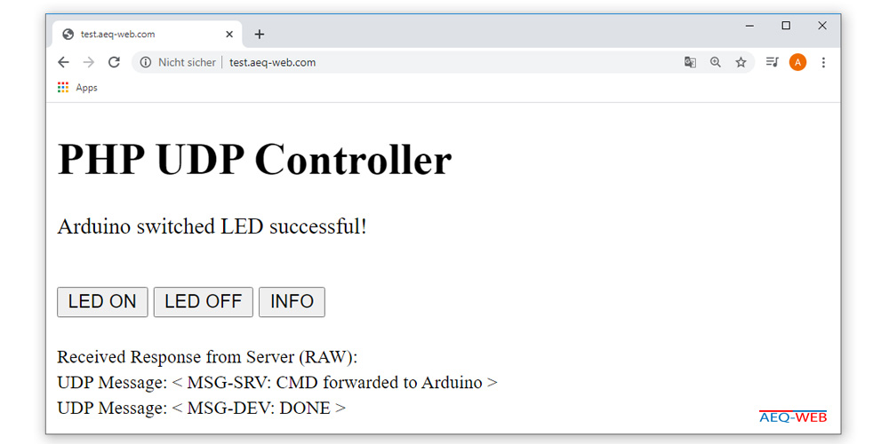 Arduino PHP switch LED success