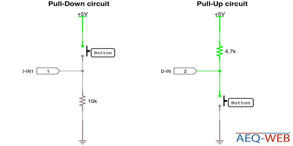 Arduino Pull Up vs Pull Down Resistor Schaltung