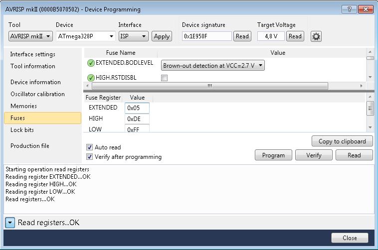 ATMega328 Bootloader Fuses