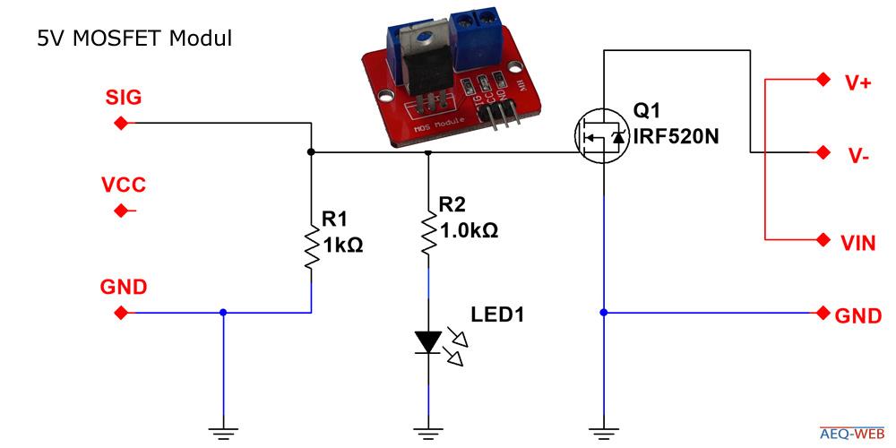 Schaltplan IRF520 MOSFET Modul