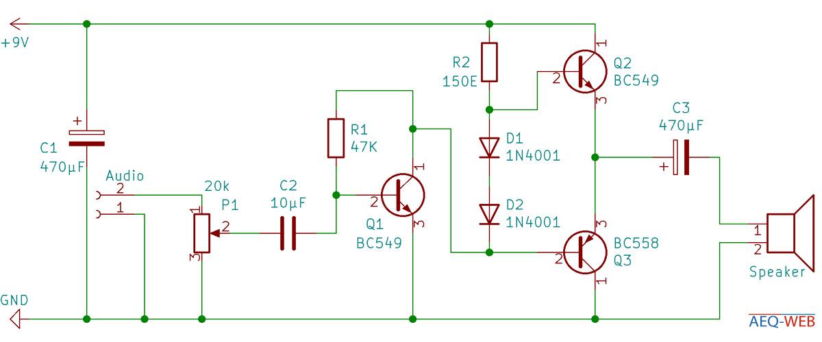 Schaltplan Audioverstärker Gegentaktstufe