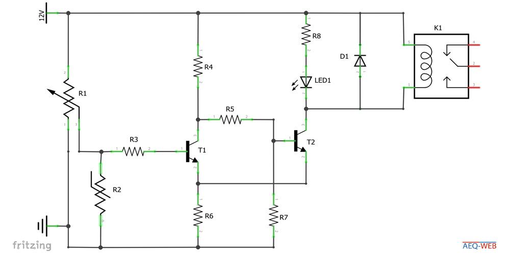 Schaltplan NTC Temperatur Schalter mit Relais