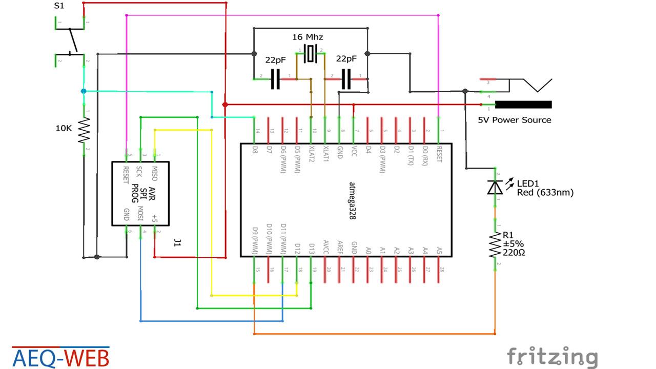 ATMega328 Mikrocontroller Taster Input Schaltplan
