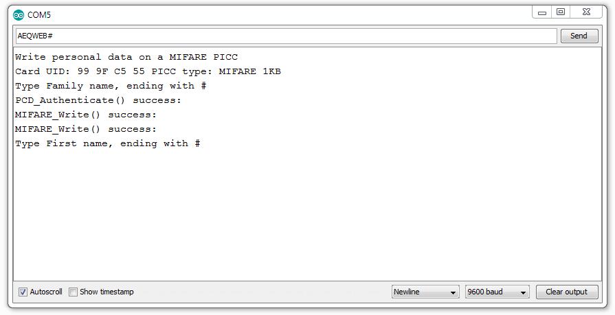 Arduino RFID Write to Card Serial Monitor