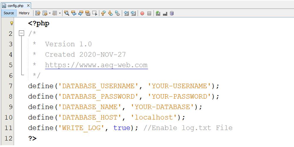 TTN HTTP Integration App Config PHP File