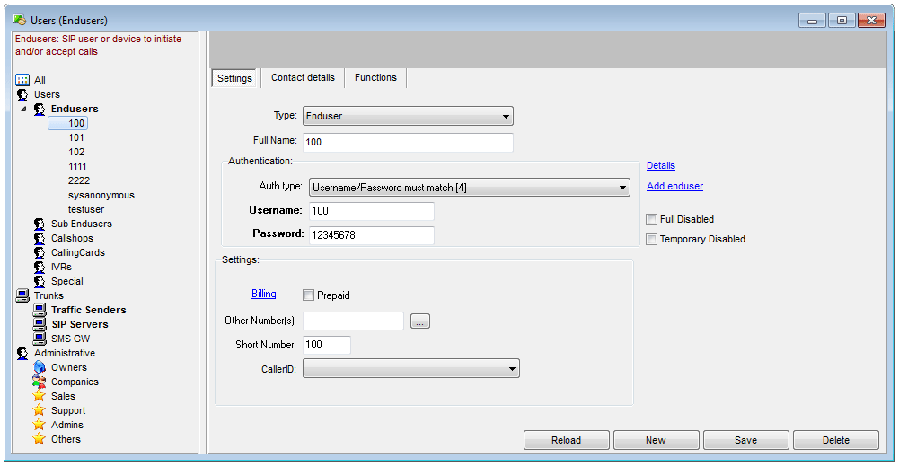 VoIP Server Accounts and Number Manager