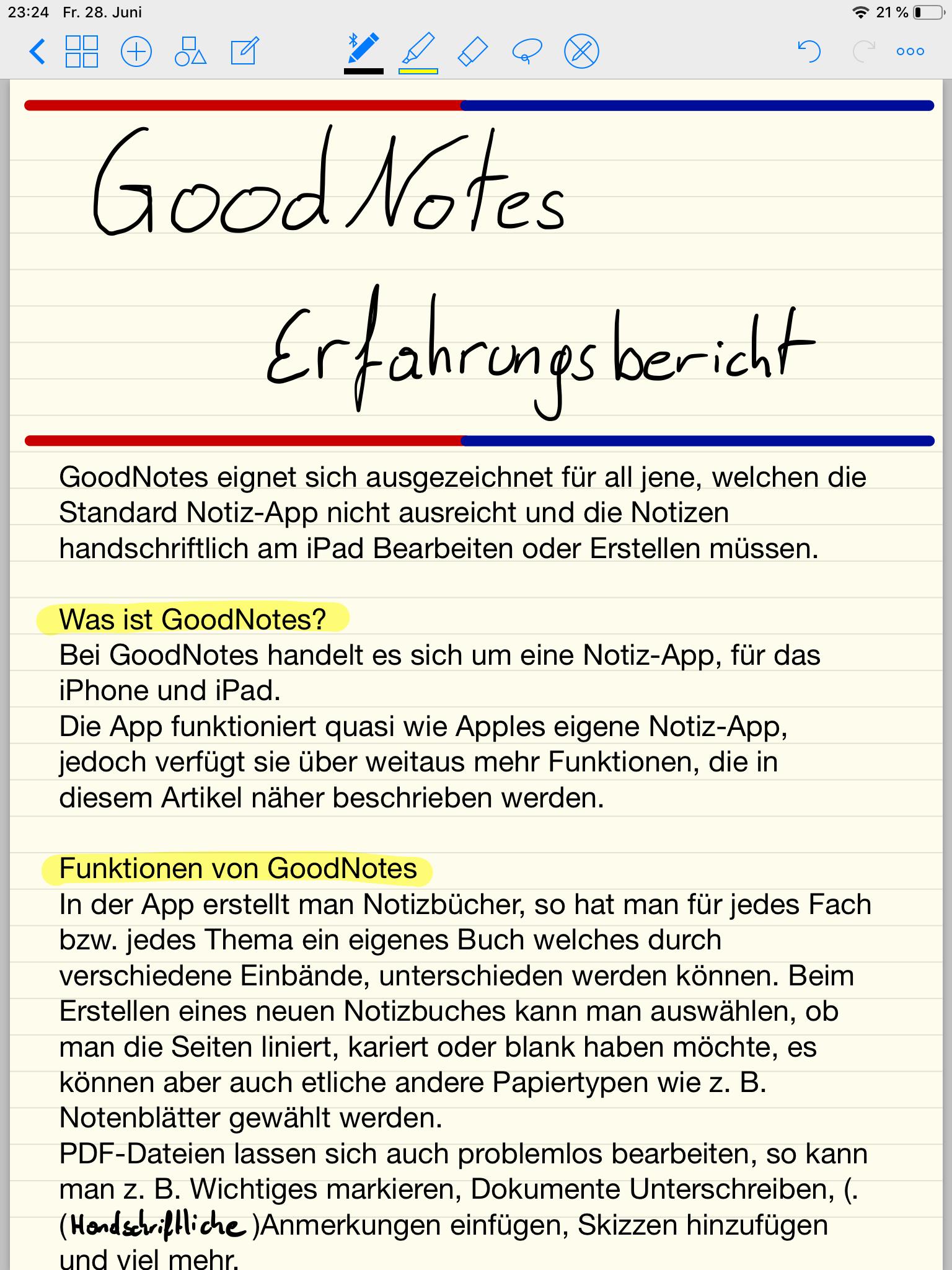 GoodNotes Erfahrungsbericht Screenshot